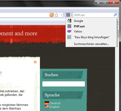 Screenshot in Firefox
